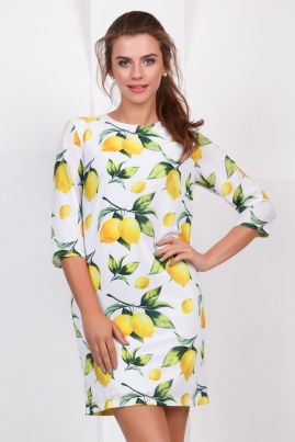 Платье Лимоны на белом