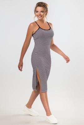 Платье в полоску с вырезом