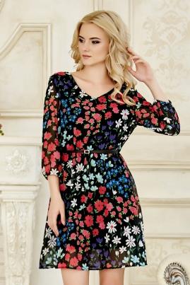 Платье Красно-синие цветы