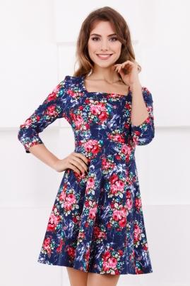 Джинсовое платье в цветочек