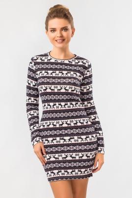 Платье с оленями (синий)