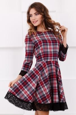 Платье в серо-красную клетку
