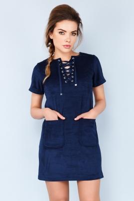 Темно-синее платье из замши со шнуровкой