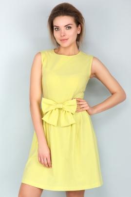 Лимонное платье с бантом без рукавов
