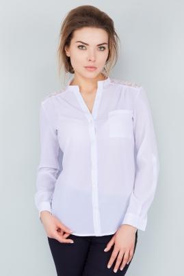 Белая шифоновая рубашка с гипюром