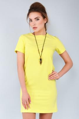 Прямое лимонное платье