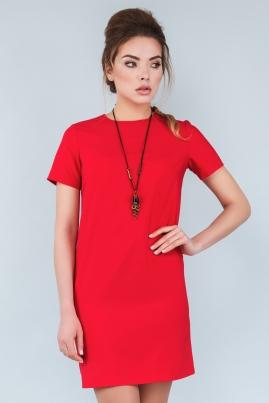 Прямое красное платье