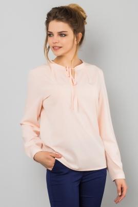Розовая блузка на стойке с завязками
