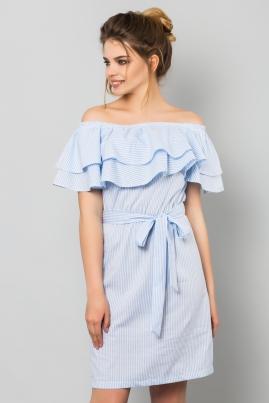 Платье в мелкую голубую полоску