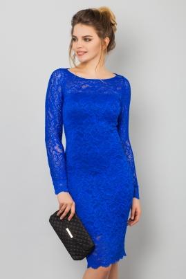 Синее гипюровое платье с длинным рукавом