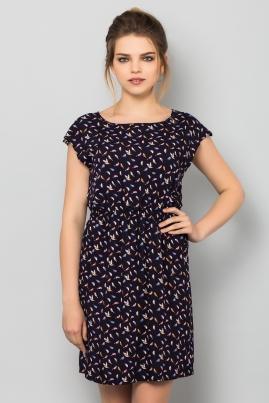 Платье Попугаи на темно-синем