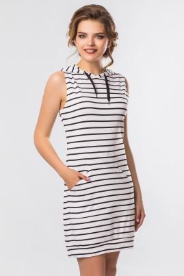 Белое платье в полоску с капюшоном