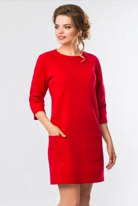 Красное платье с необработанными краями