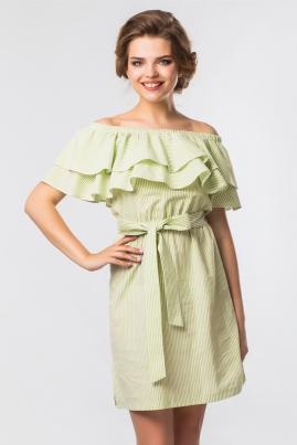 Зеленое платье в полоску