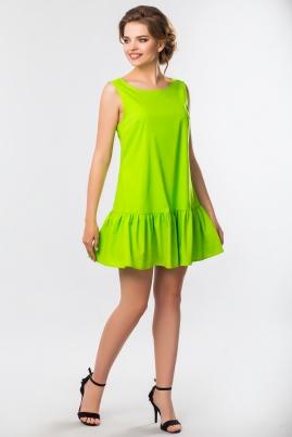 Салатовое платье с рюшами без рукавов