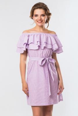 Сиреневое платье в полоску