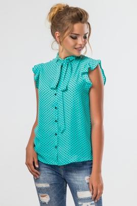 Мятная блузка в мелкий горошек