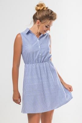 Платье-рубашка без рукавов в полоску