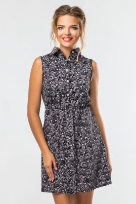 Платье-рубашка Узоры на черном