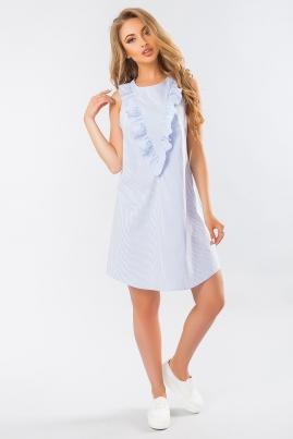 Голубое платье с рюшами