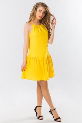 Желтое платье с завязками