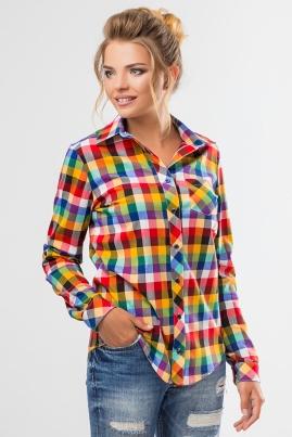 Рубашка в разноцветную клетку