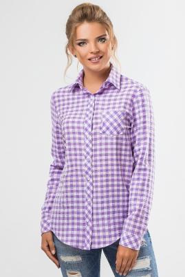 Рубашка в сиреневую клетку
