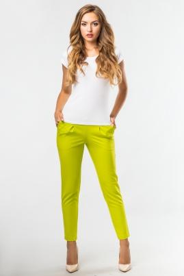 Салатовые брюки с боковыми карманами