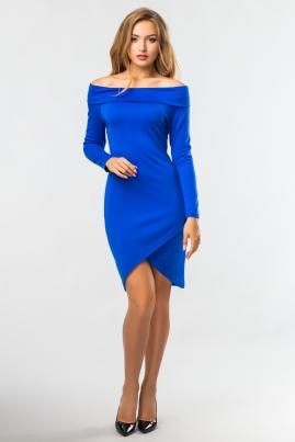 Синее платье-хомут с запахом