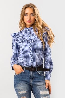 Синяя рубашка с рюшей