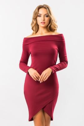 Бордовое платье-хомут с запахом