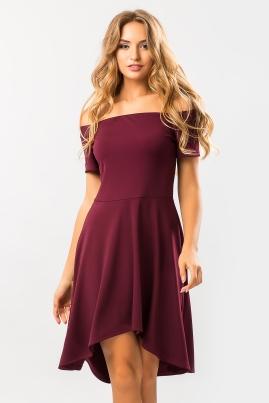 Бордовое платье с открытыми плечами Неаполь
