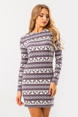 Платье с оленями (серо-розовые)