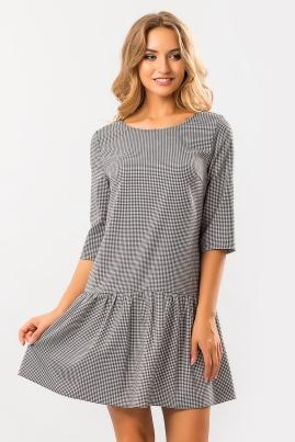 Платье гусиная лапка с оборкой по низу