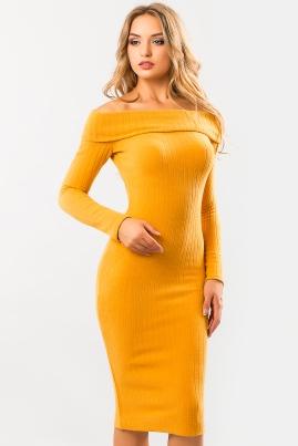 Платье хомут горчичного цвета