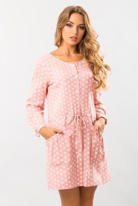 Льняное платье Горох на розовом