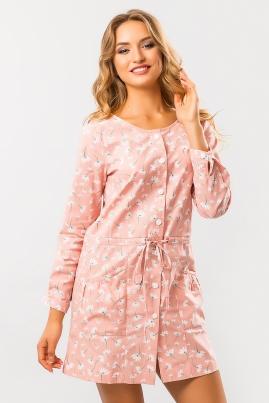 Льняное платье Цветы на розовом