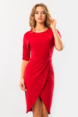 Красное платье с запахом и поясом