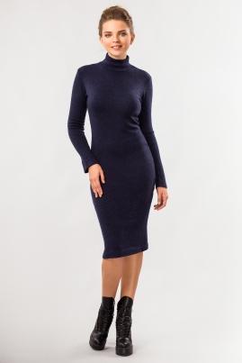 Темно-синее платье с воротником под горло