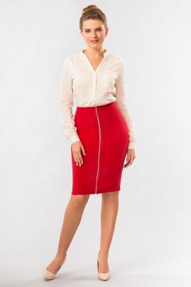 Красная юбка с молнией
