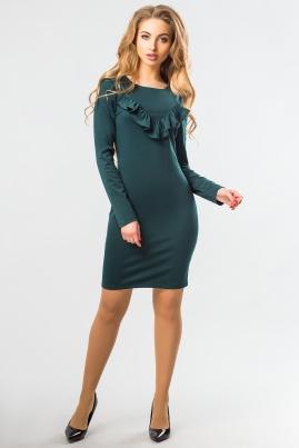 Темно-зеленое платье с длинным рукавом и рюшами
