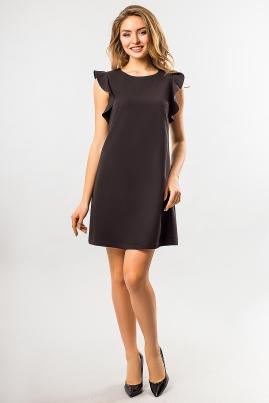 Черное платье с воланами на плечах