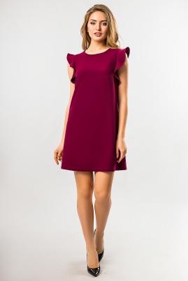 Бордовое платье с воланами на плечах