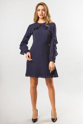 Шифоновое платье в горошек темно-синего цвета