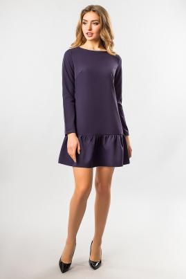 Темно-синее платье с длинным рукавом и оборками