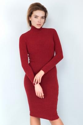 Платье гольф бордового цвета