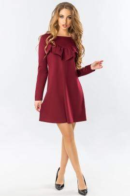 Бордовое платье А-силуэта с рюшами