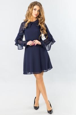 Темно-синее шифоновое платье с 2-я оборками