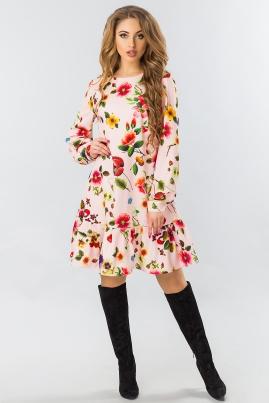 Платье с длинным рукавом и оборкой цветы на розовом