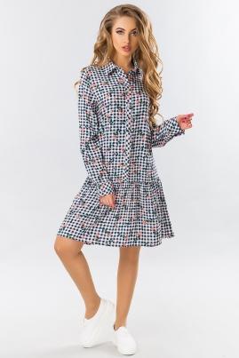 Платье-рубашка с оборкой в клетку (розовая роза)